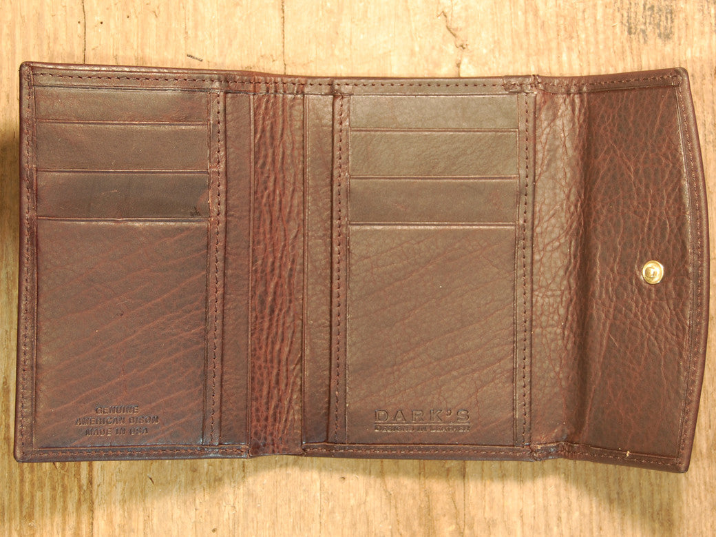 Dark's Leather French Purse Ladies Wallet in Bison Espresso, Interior