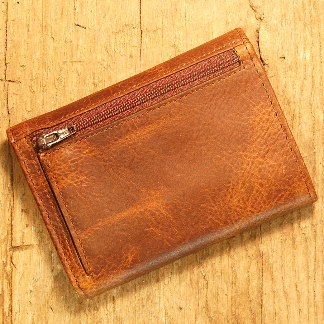 Dark's Leather French Purse Ladies Wallet in Bison Tobacco, Back