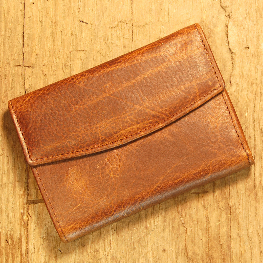 Dark's Leather French Purse Ladies Wallet in Bison Tobacco, Front