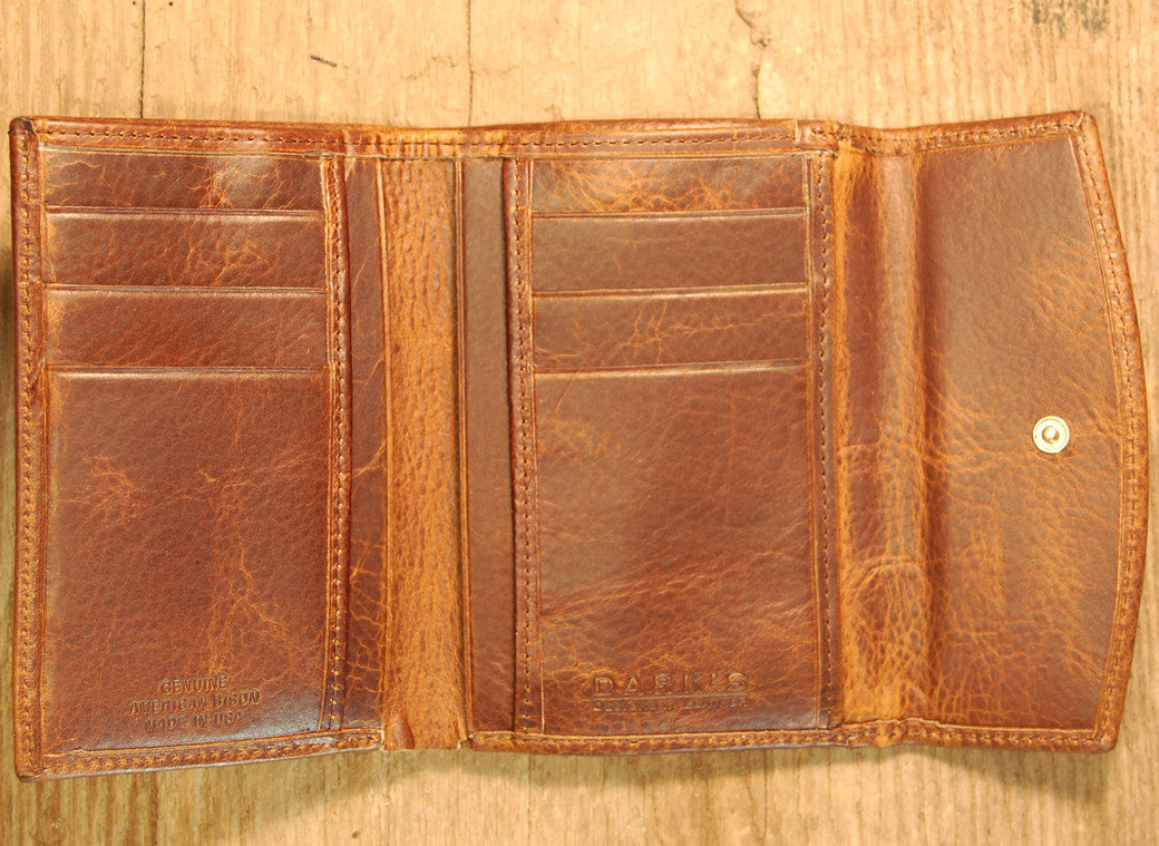 Dark's Leather French Purse Ladies Wallet in Bison Tobacco, Interior
