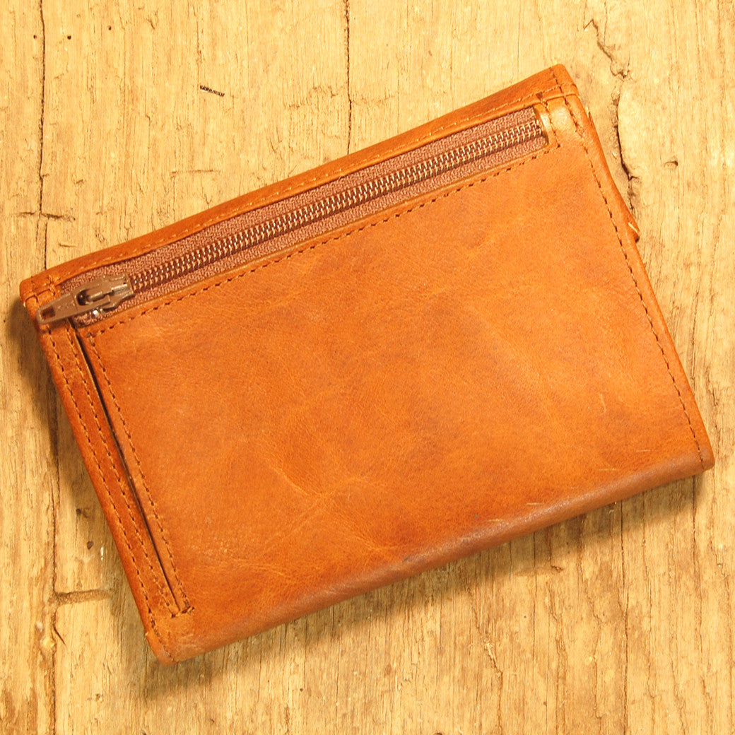 Dark's Leather French Purse Ladies Wallet in Bison Whiskey, Back