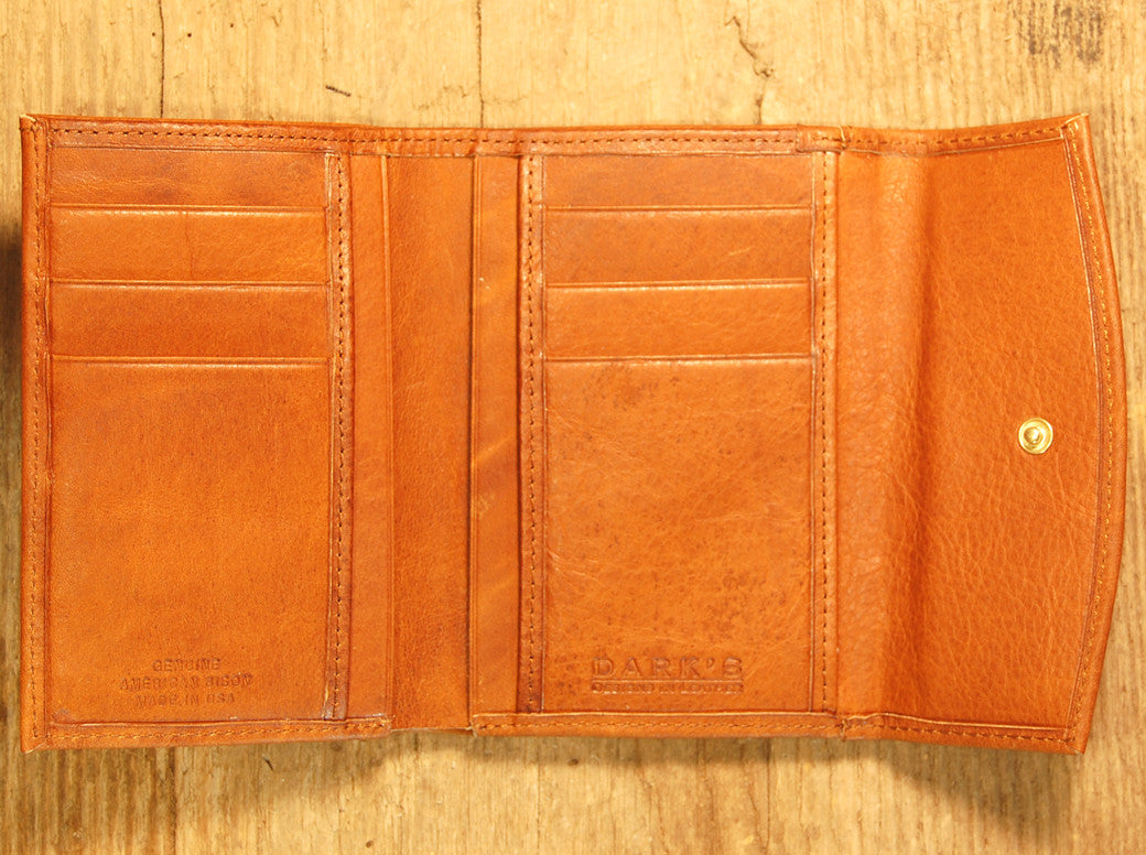 Dark's Leather French Purse Ladies Wallet in Bison Whiskey, Interior