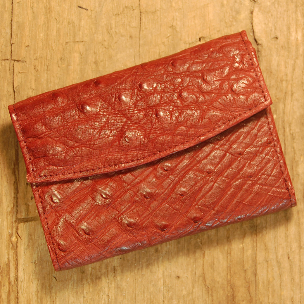 Dark's Leather French Purse Ladies Wallet in Ostrich Burgundy, Front