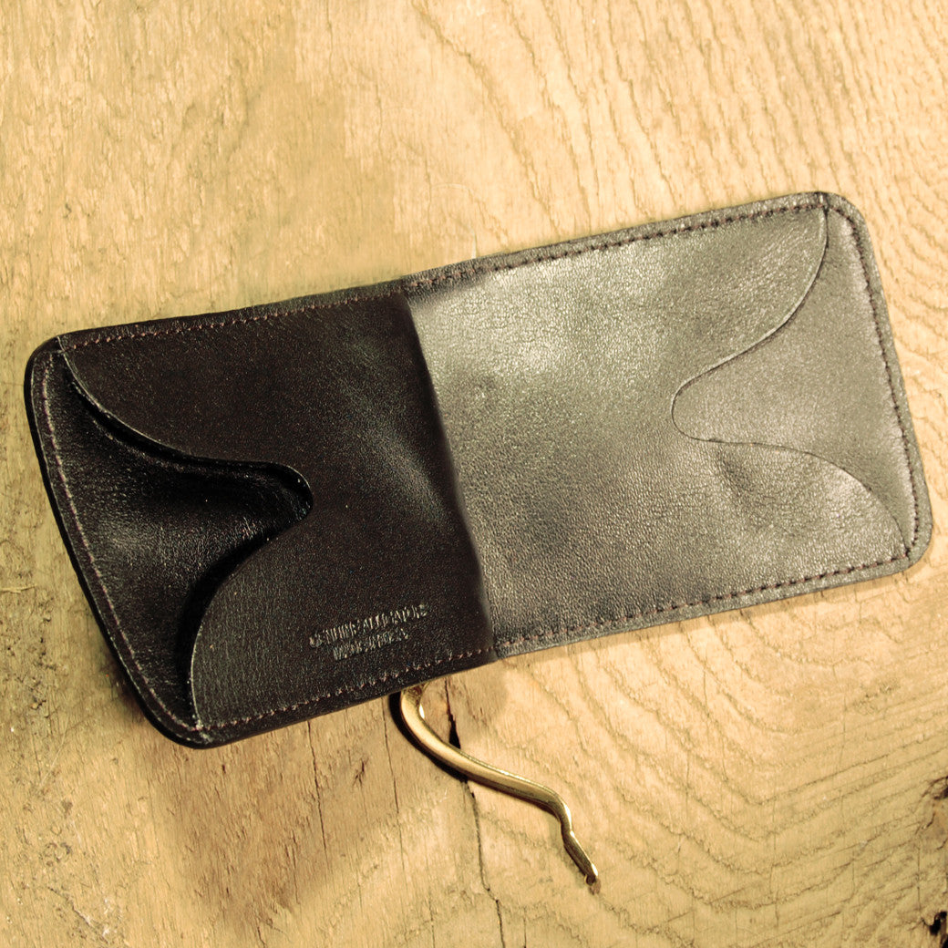 Dark's Leather Front Pocket Clip Wallet in Alligator Brown, Interior