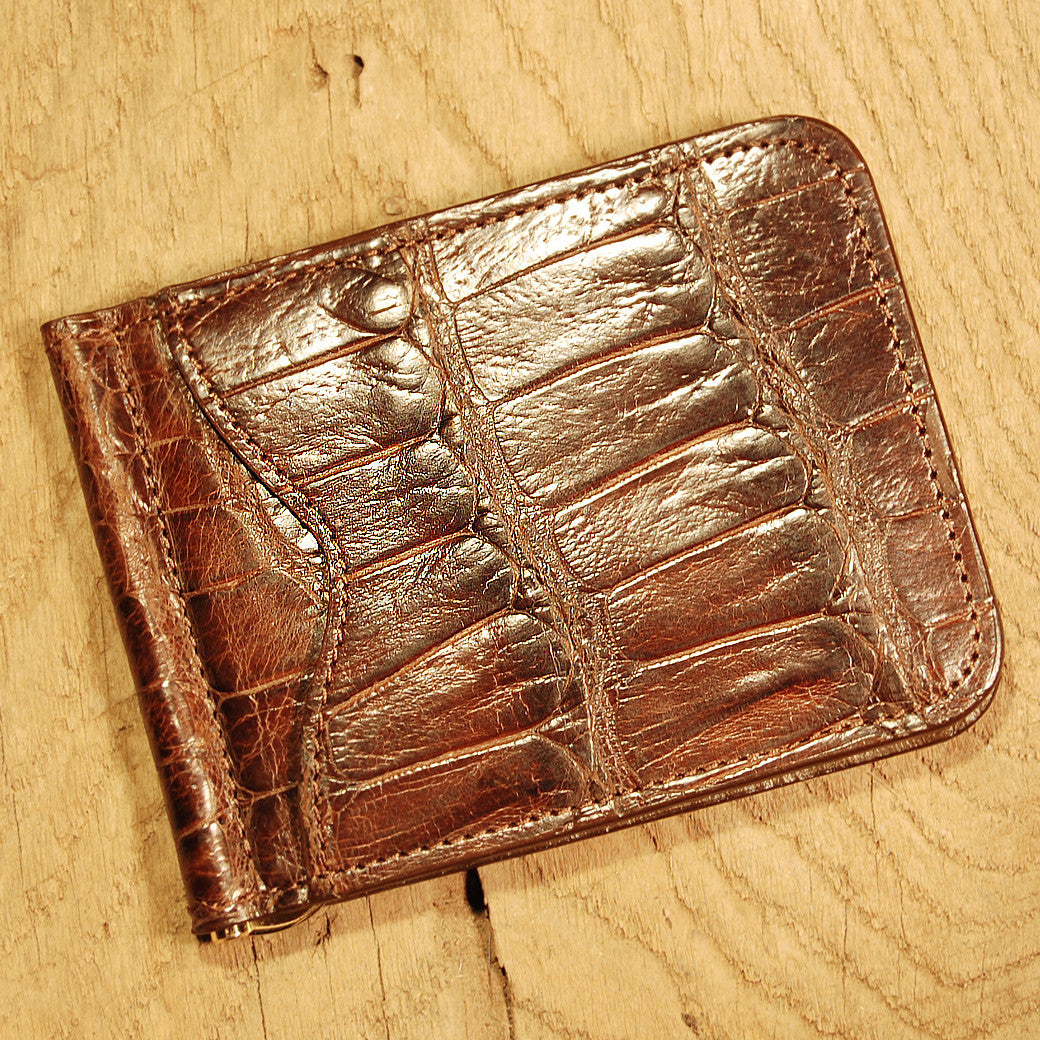 Dark's Leather Front Pocket Clip Wallet in Alligator Brown, Front