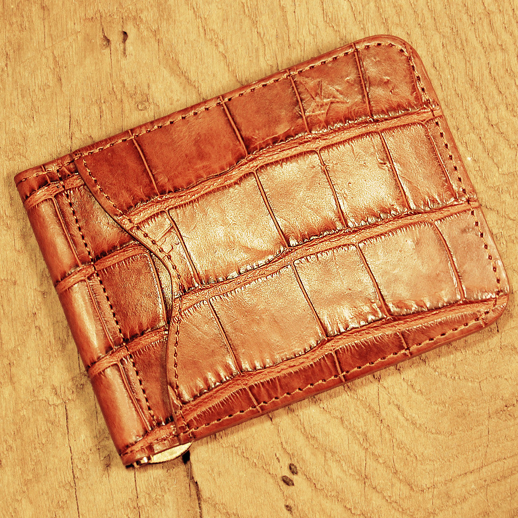 Dark's Leather Front Pocket Clip Wallet in Alligator Cognac, Front