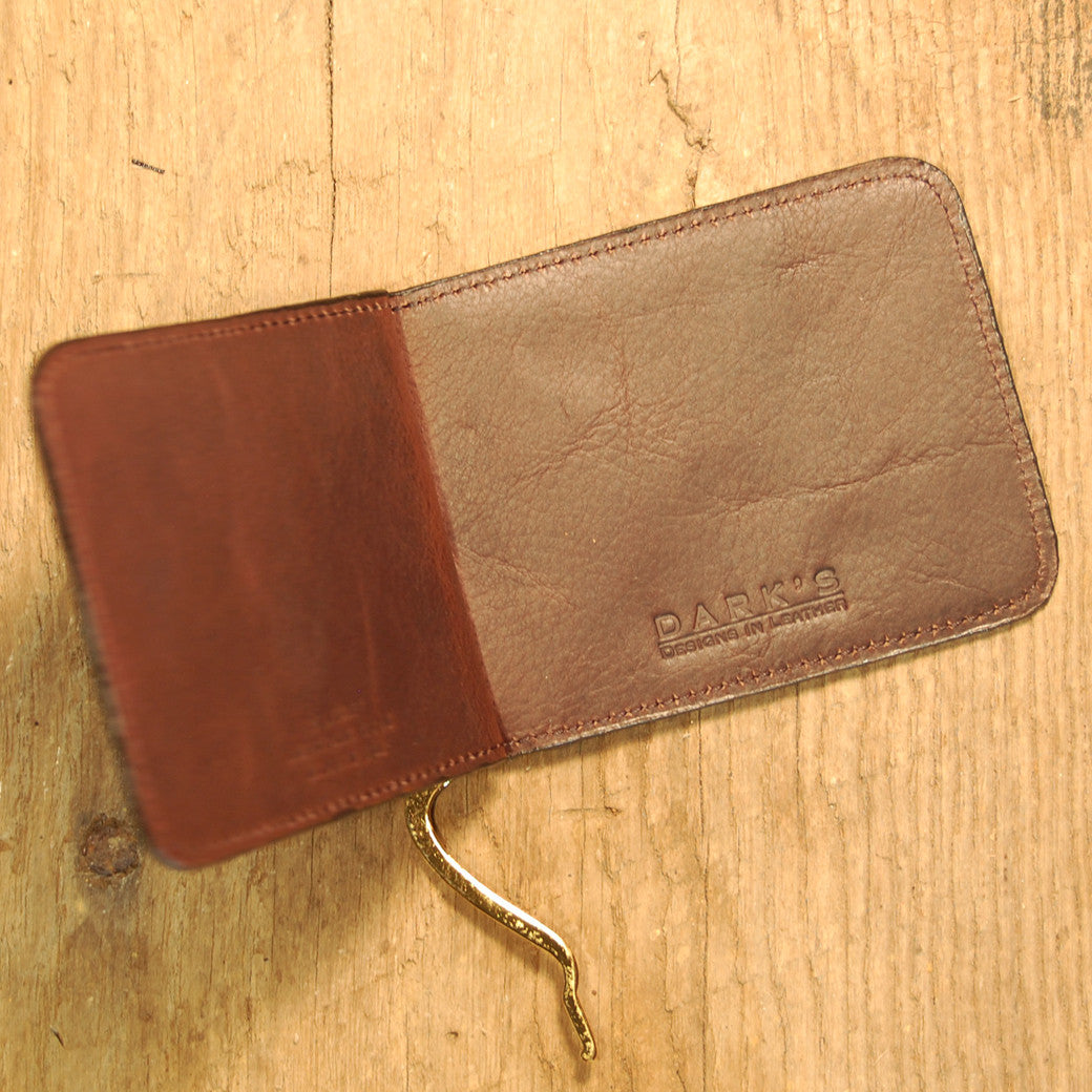Dark's Leather Front Pocket Clip Wallet in Bison Espresso, Interior