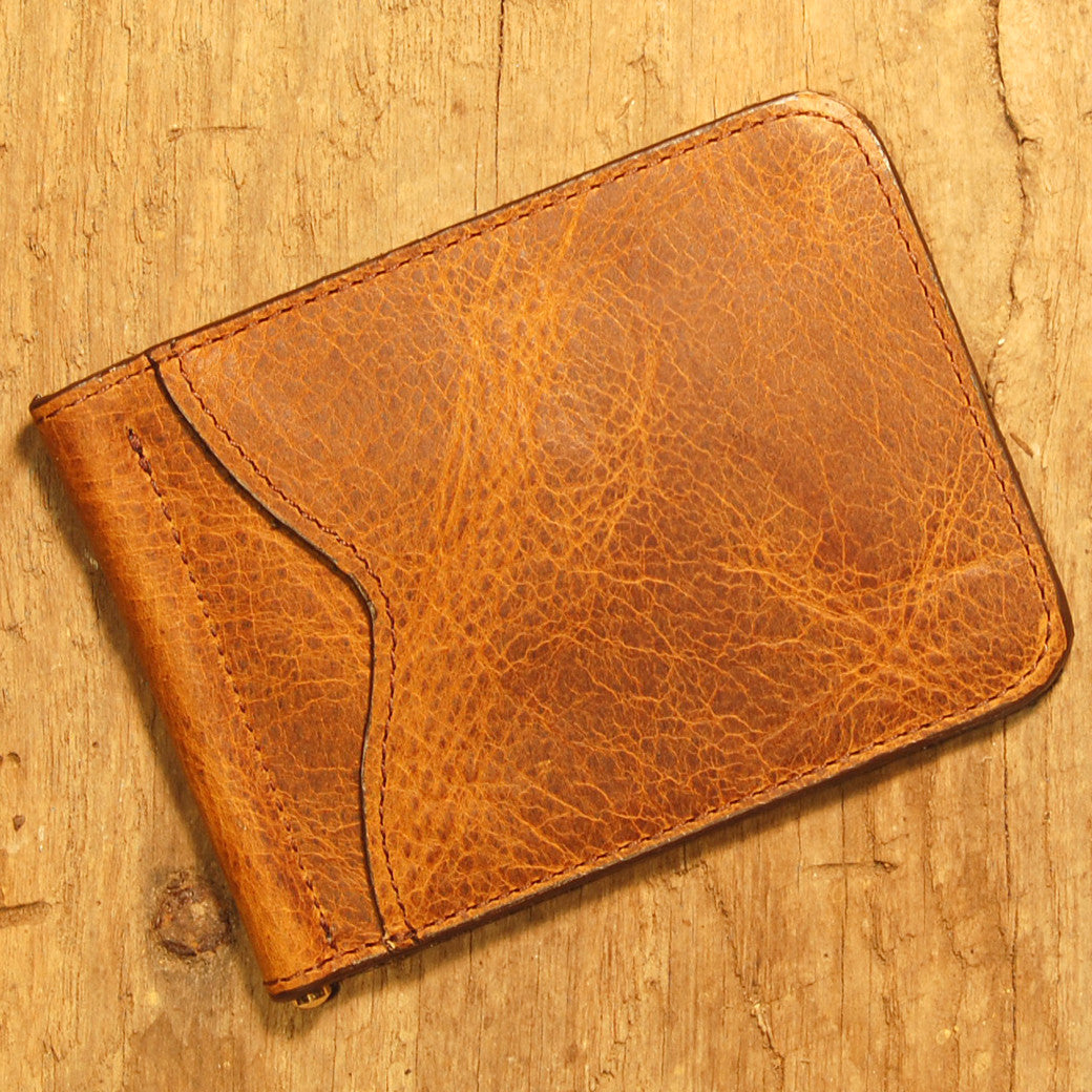 Dark's Leather Front Pocket Clip Wallet in Bison Tobacco