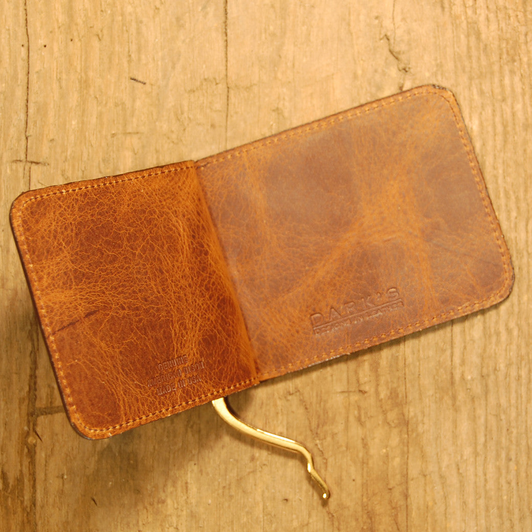 Dark's Leather Front Pocket Clip Wallet in Bison Tobacco, Interior