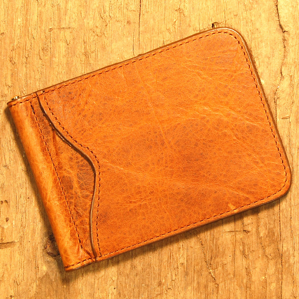 Dark's Leather Front Pocket Clip Wallet in Bison Whiskey