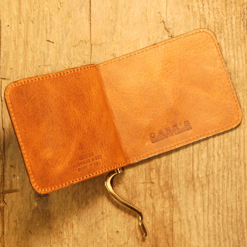 Dark's Leather Front Pocket Clip Wallet in Bison Whiskey, Interior