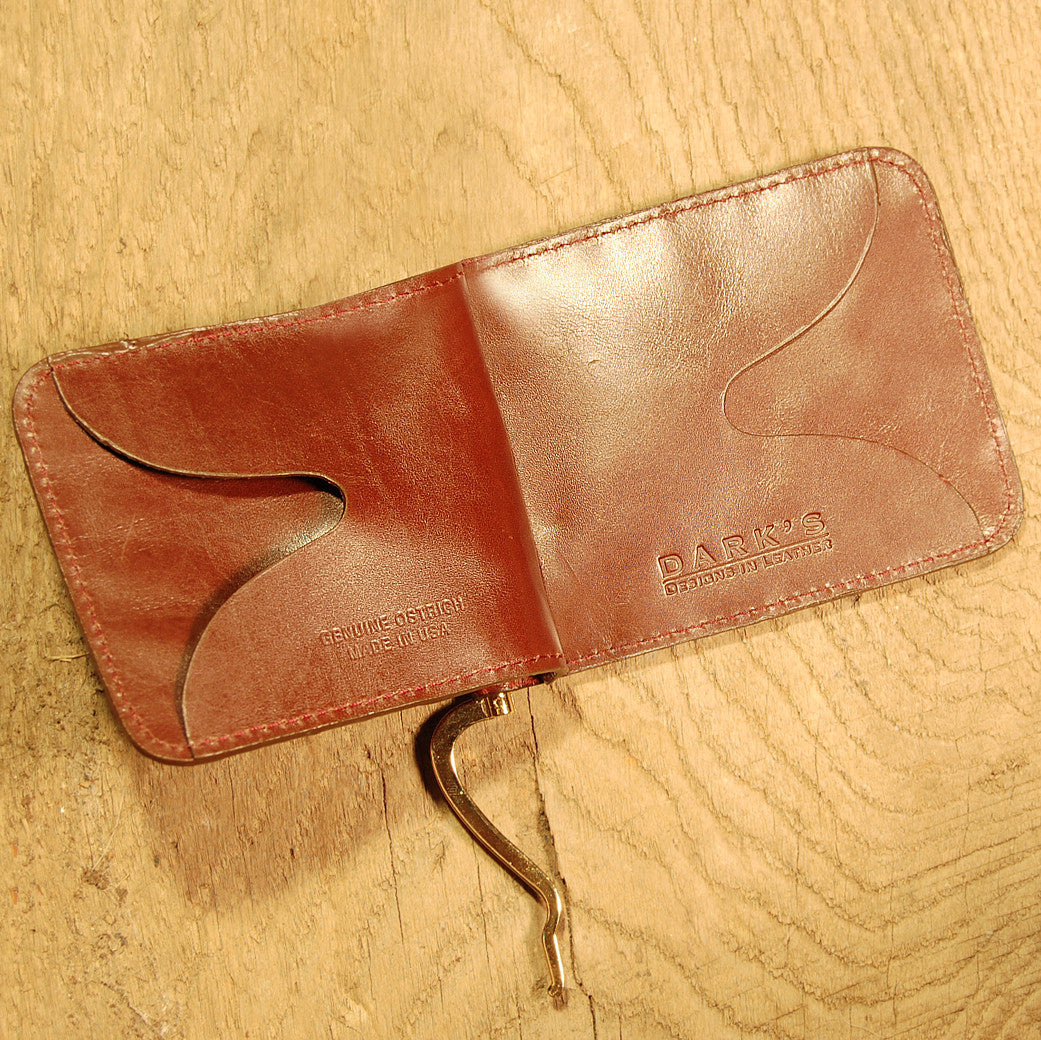 Dark's Leather Front Pocket Clip Wallet in Ostrich Burgundy, Interior