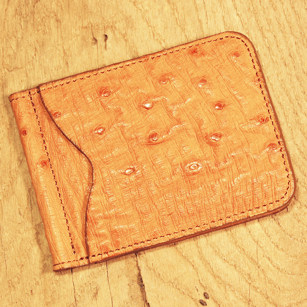Dark's Leather Front Pocket Clip Wallet in Ostrich Cognac, Front