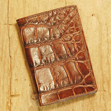 Dark's Leather Gusset Card Case in Alligator Brown, Front