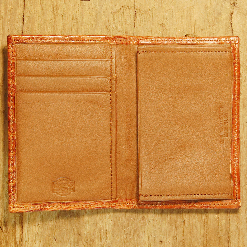 Dark's Leather Gusset Card Case in Alligator Cognac, Interior
