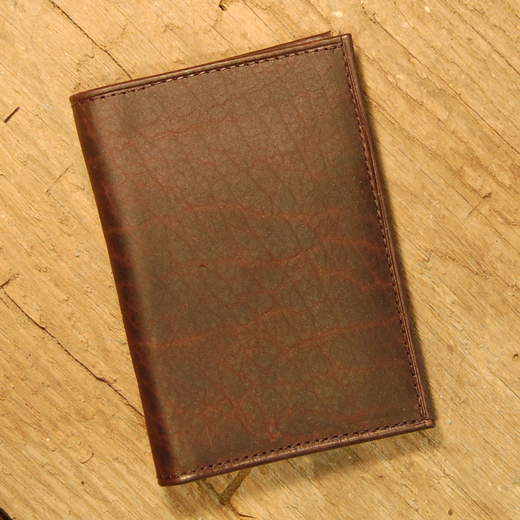 Dark's Leather Gusset Card Case in Bison Espresso, Front