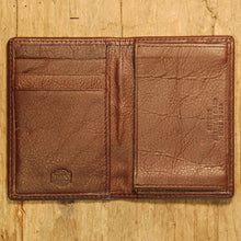 Dark's Leather Gusset Card Case in Bison Espresso, Interior