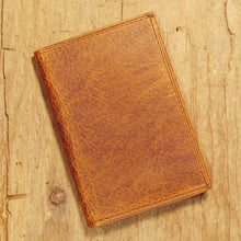 Dark's Leather Gusset Card Case in Bison Tobacco, Front