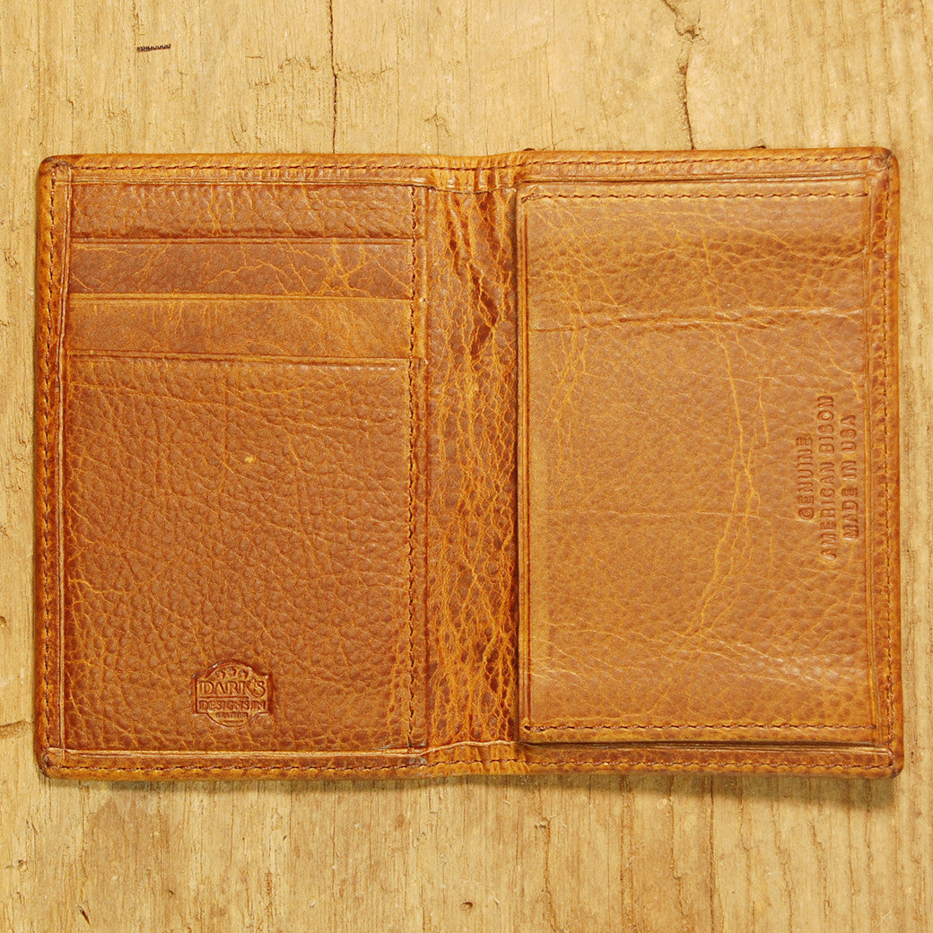 Dark's Leather Gusset Card Case in Bison Tobacco, Interior