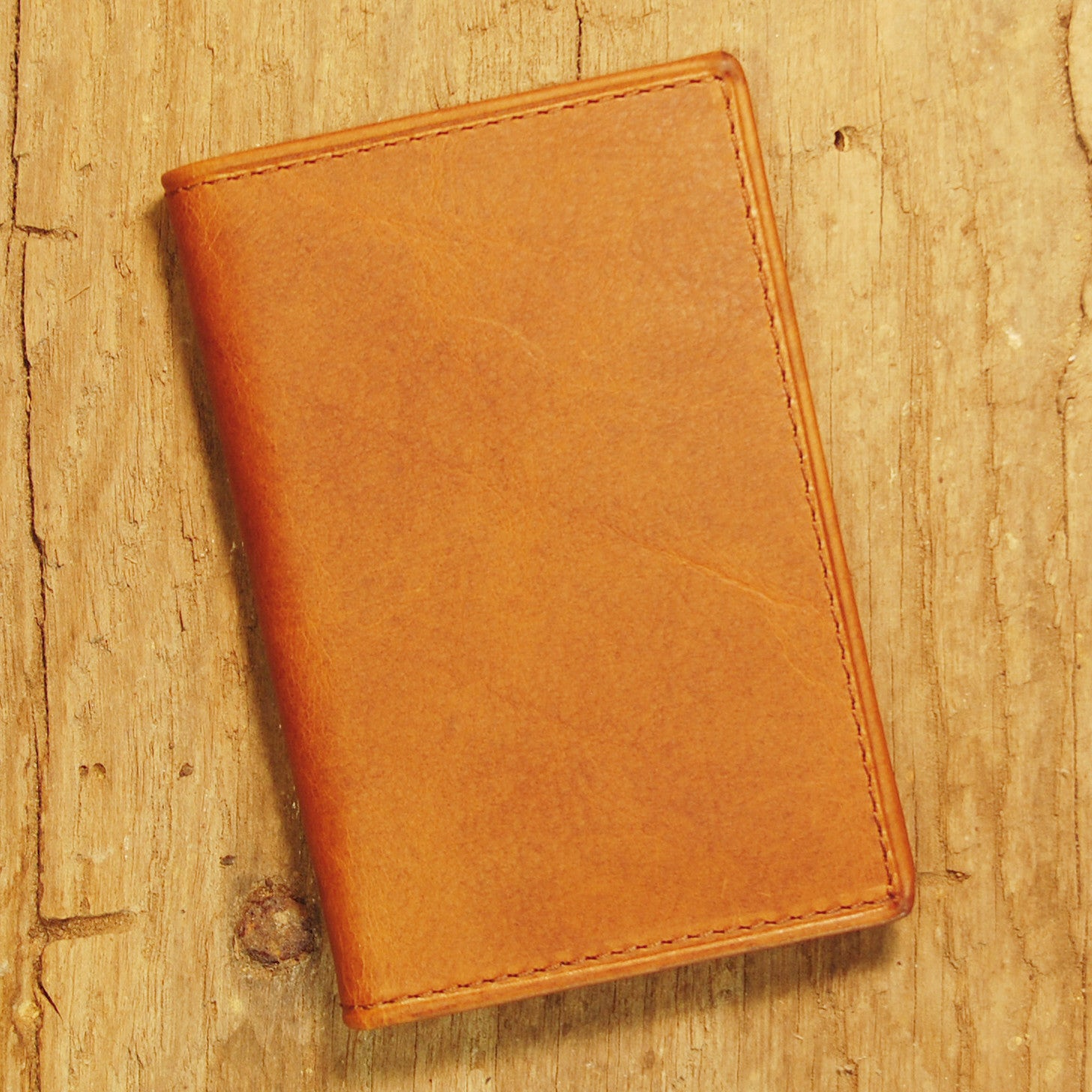 Dark's Leather Gusset Card Case in Bison Whiskey, Front