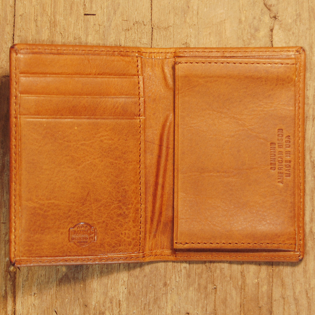 Dark's Leather Gusset Card Case in Bison Whiskey, Interior