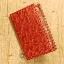 Dark's Leather Gusset Card Case in Ostrich Burgundy, Front