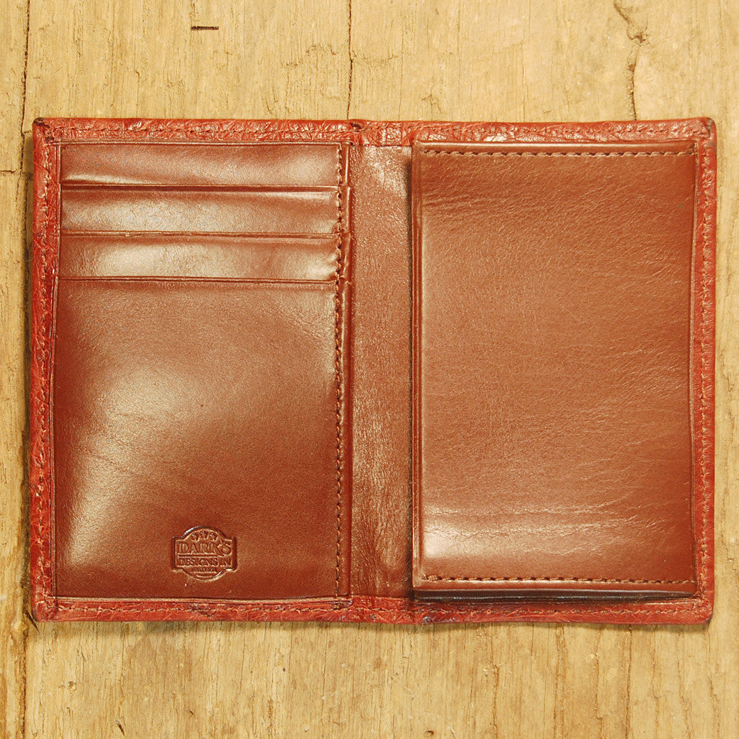 Dark's Leather Gusset Card Case in Ostrich Burgundy, Interior