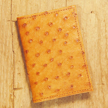Dark's Leather Gusset Card Case in Ostrich Cognac, Front