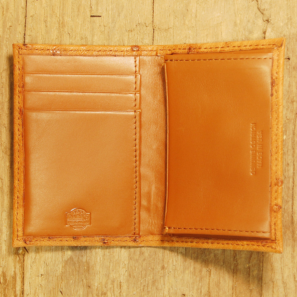 Dark's Leather Gusset Card Case in Ostrich Cognac, Interior