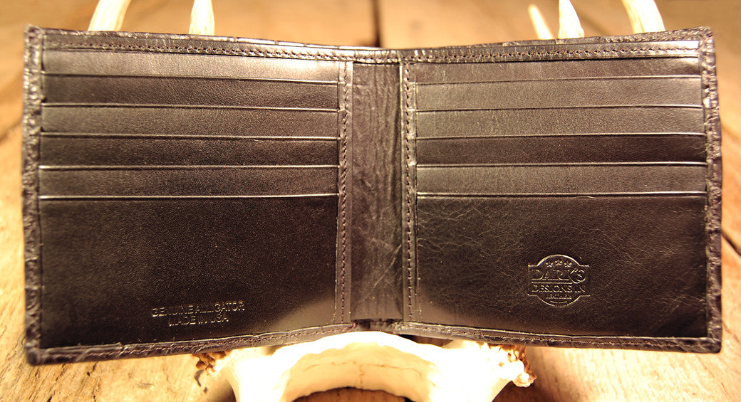 Dark's Leather Hipster Wallet in Alligator Black, Interior