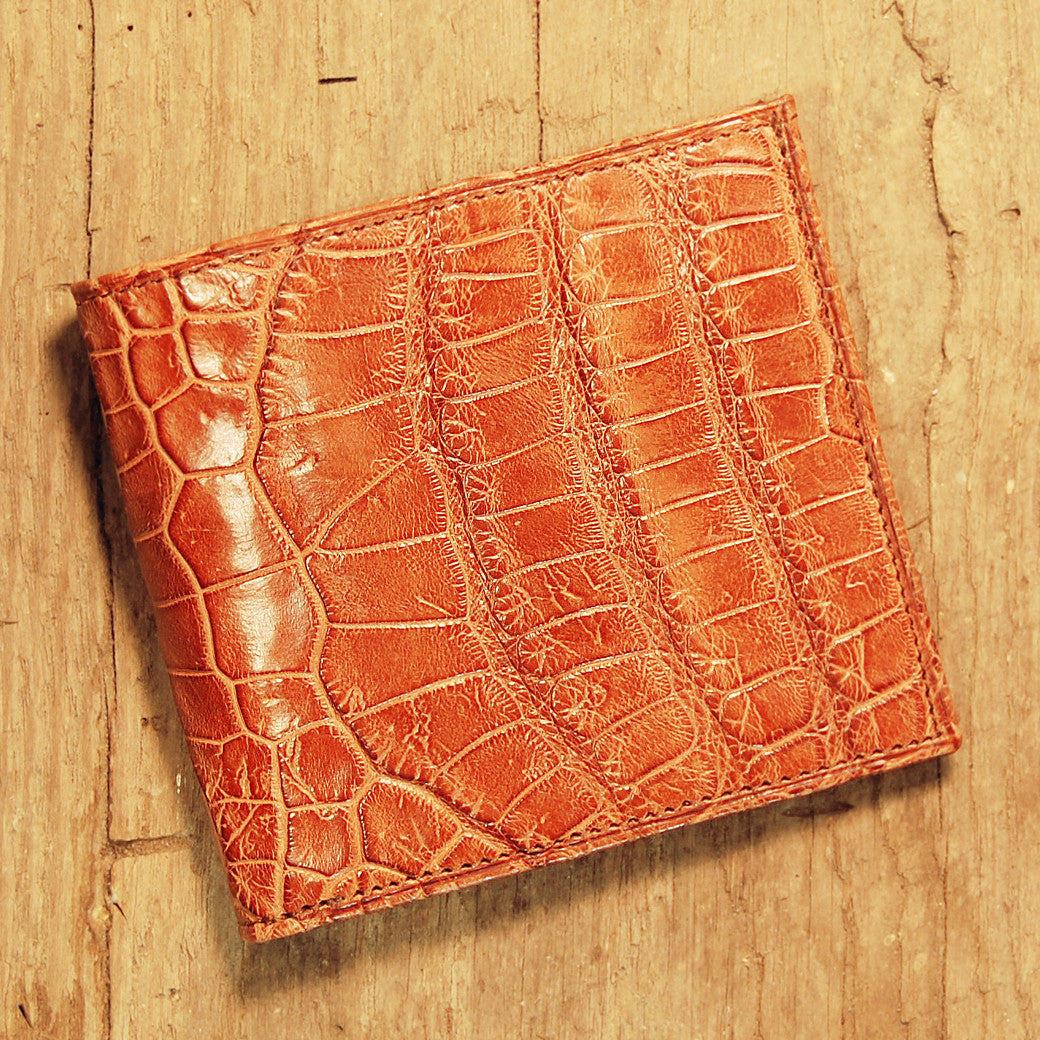 Dark's Leather Hipster Wallet in Alligator Cognac, Front