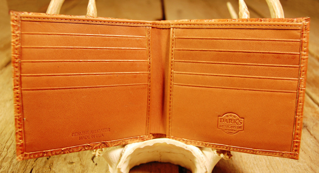 Dark's Leather Hipster Wallet in Alligator Cognac, Interior