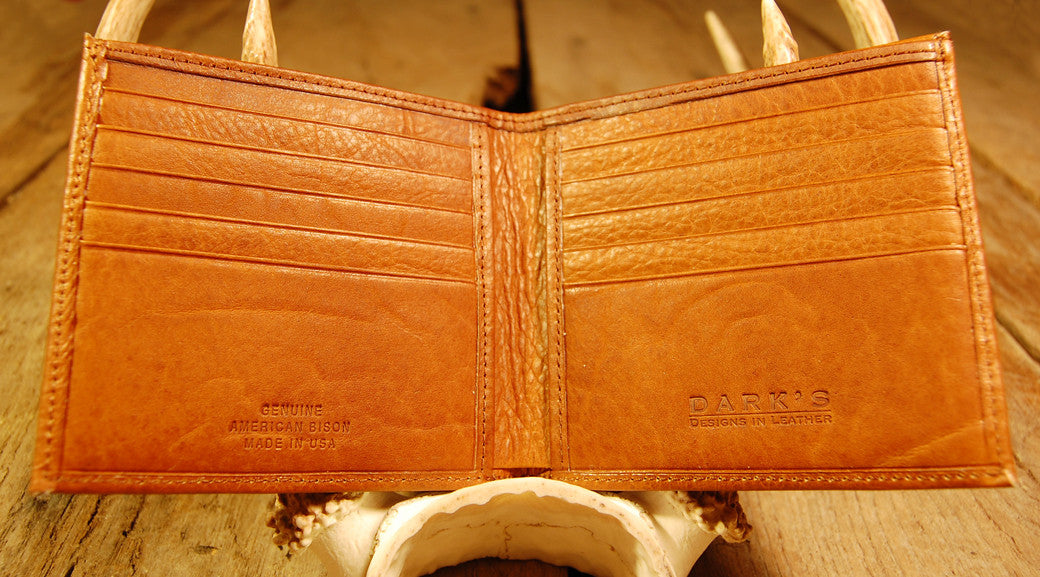 Dark's Leather Hipster Wallet in Bison Whiskey, Interior