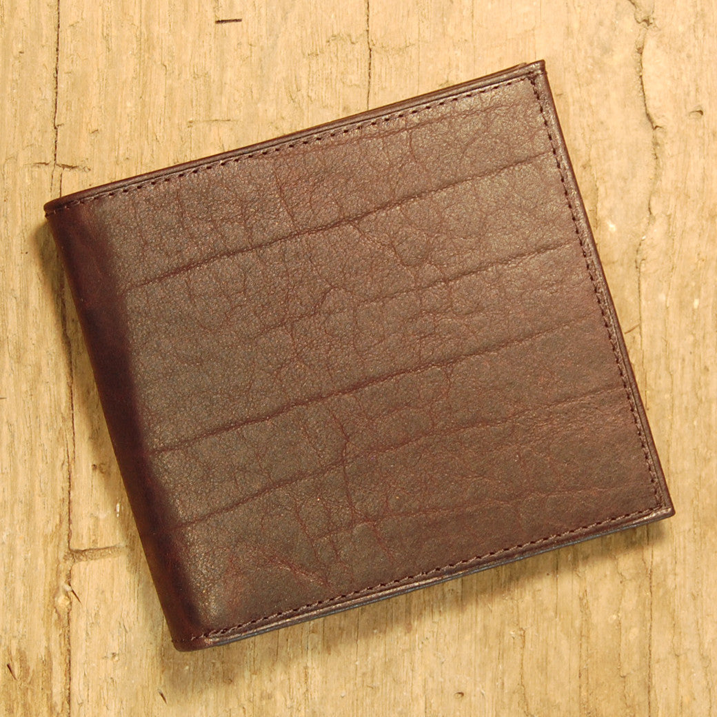 Dark's Leather Hipster Wallet in Bison Espresso, Front