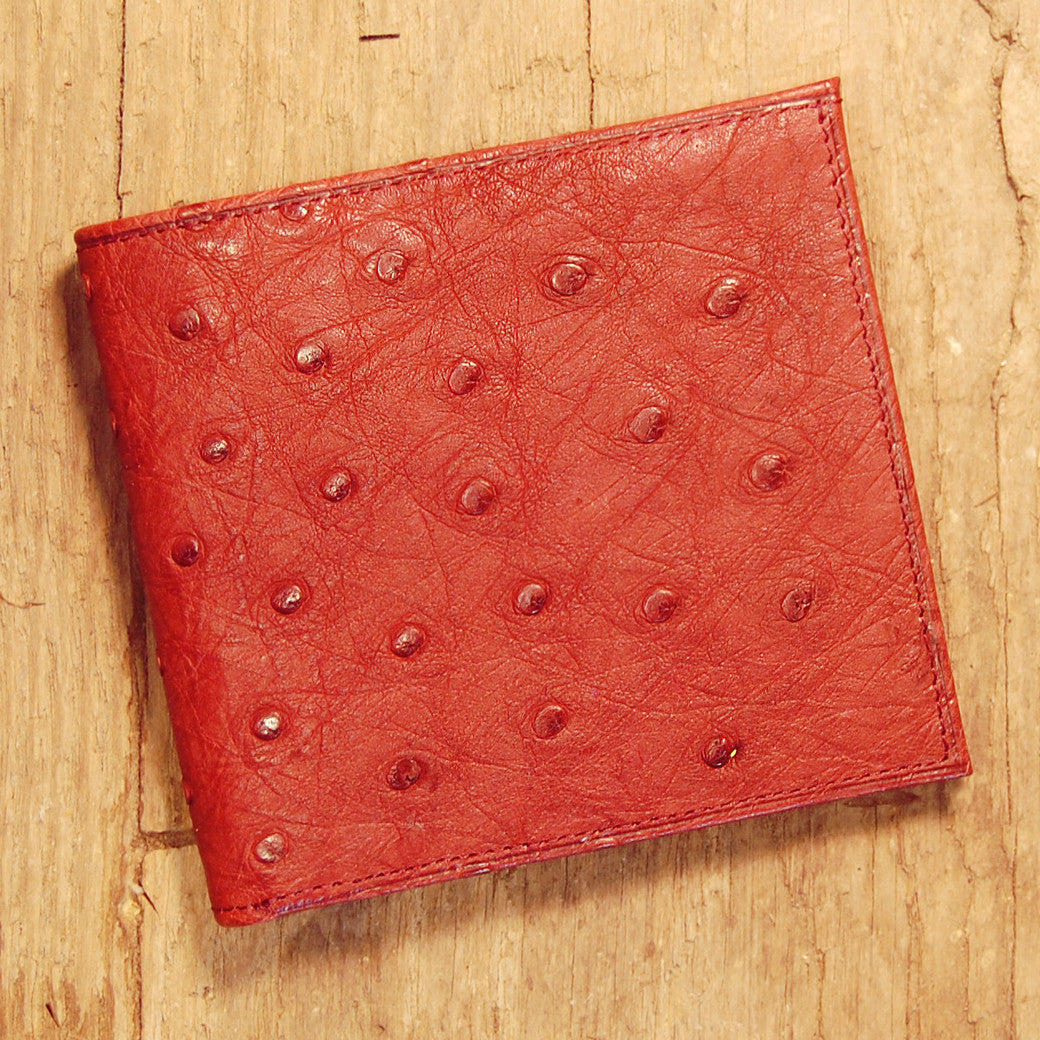 Dark's Leather Hipster Wallet in Ostrich Burgundy, Front