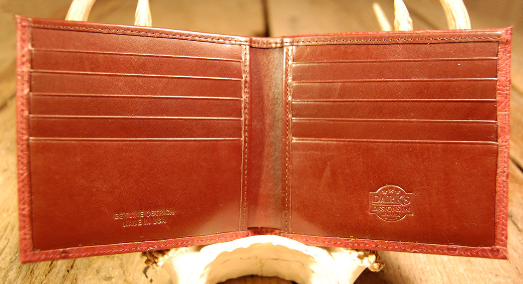 Dark's Leather Hipster Wallet in Ostrich Burgundy, Interior