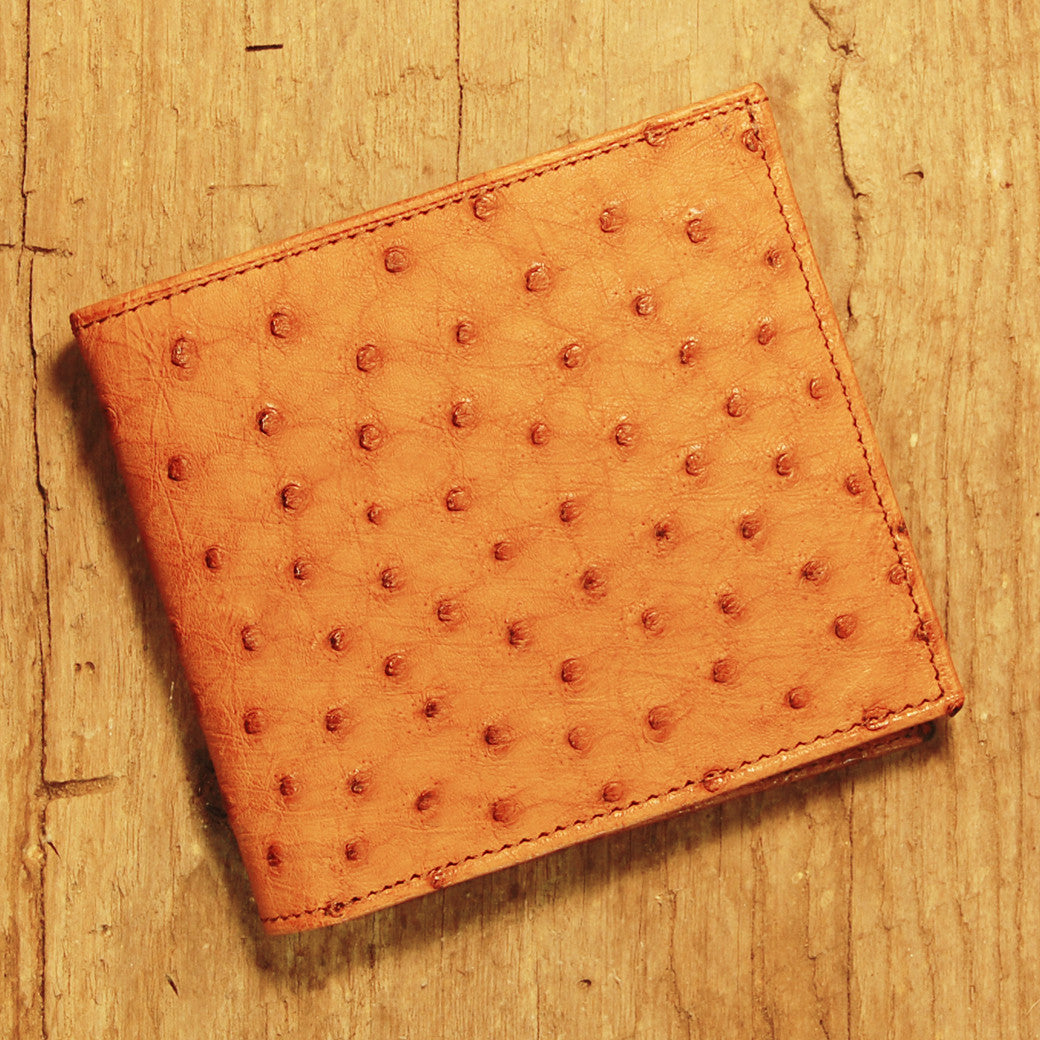 Dark's Leather Hipster Wallet in Ostrich Cognac, Front