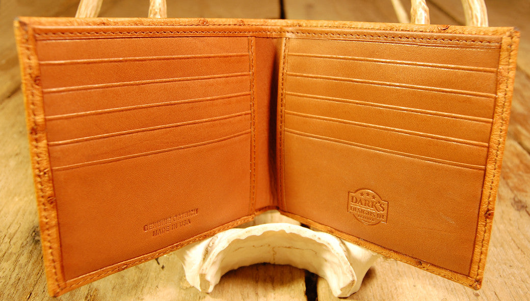 Dark's Leather Hipster Wallet in Ostrich Cognac, Interior