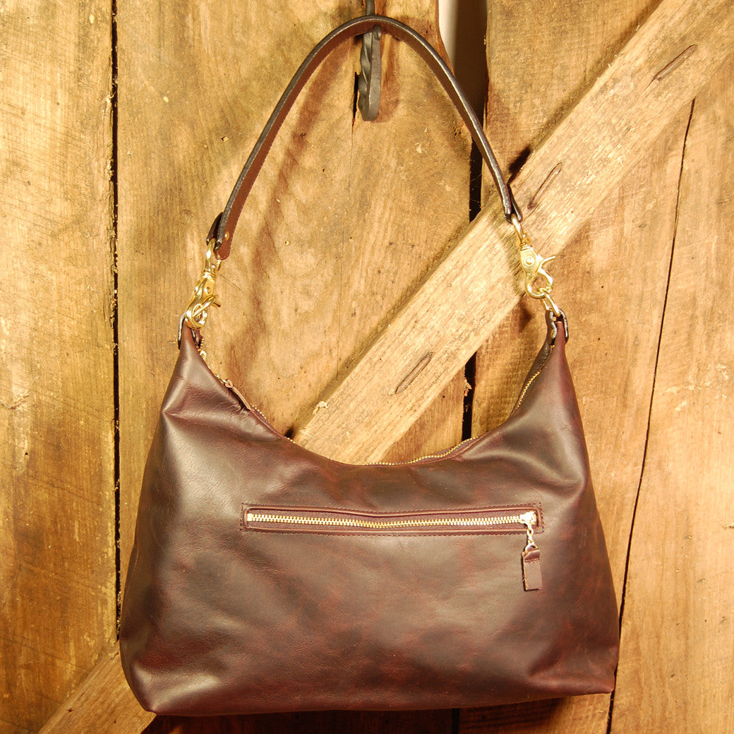 Dark's Leather Hobo Bag in Bison Espresso, Front