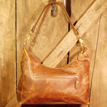 Dark's Leather Hobo Bag in Bison Tobacco, Front