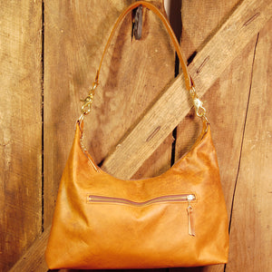 Dark's Leather Hobo Bag in Bison Whiskey, Front