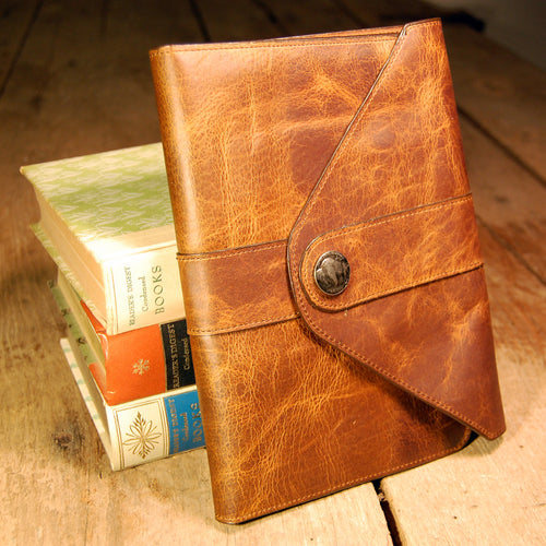 Dark's Leather Journal in Tobacco Bison, front