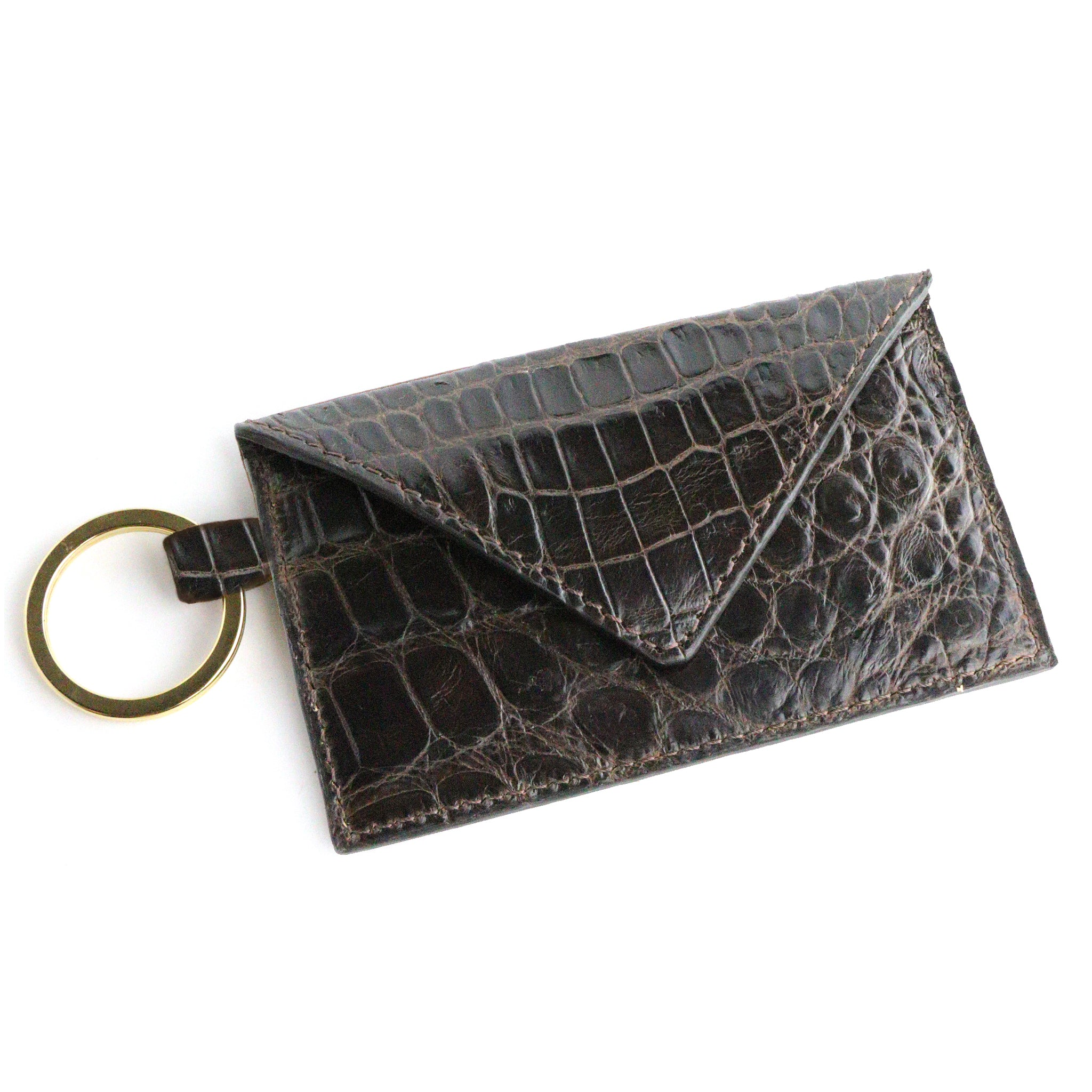 Alligator Brown Leather Keychain Card Envelope Wallet