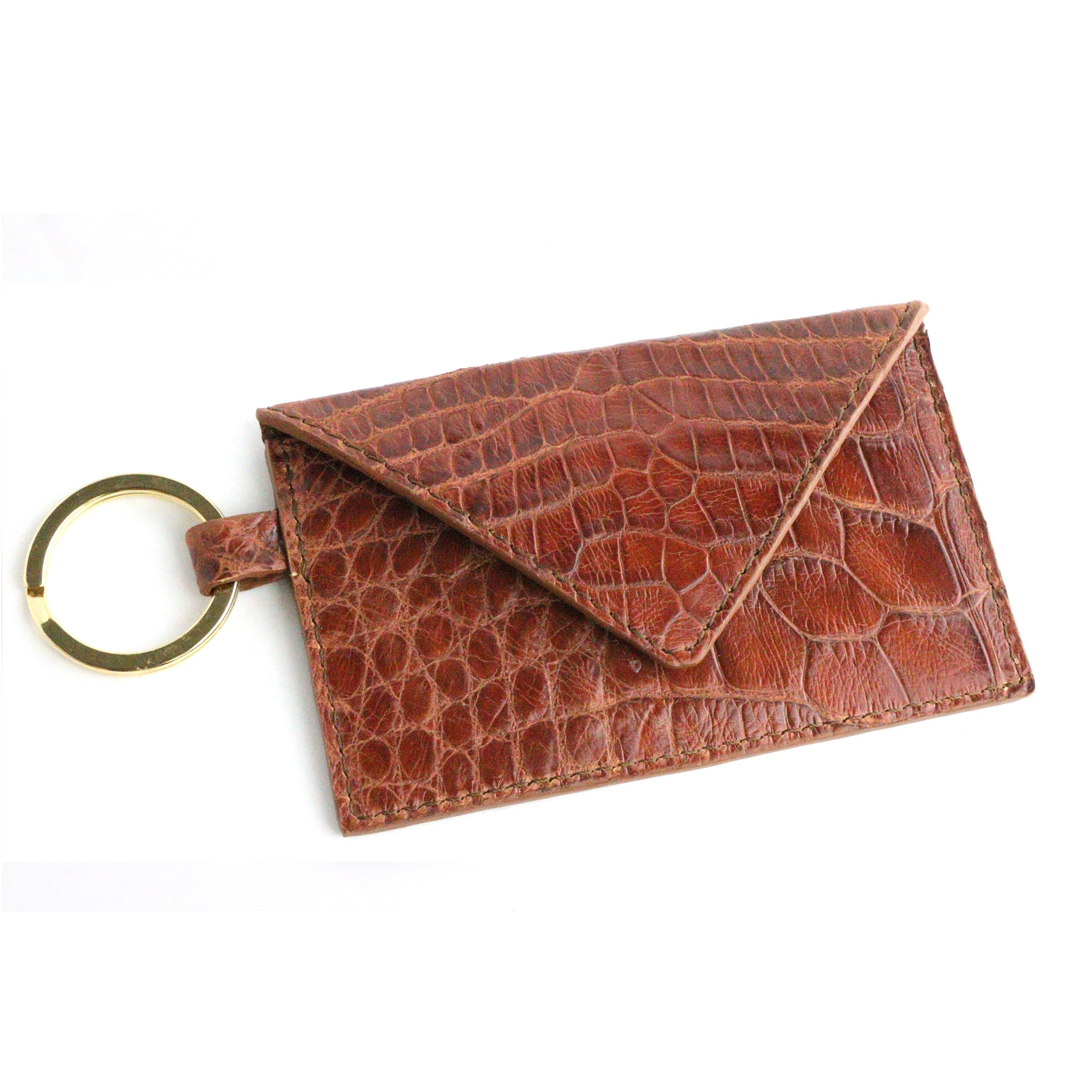 Alligator Cognac Leather Keychain Card Envelope Wallet
