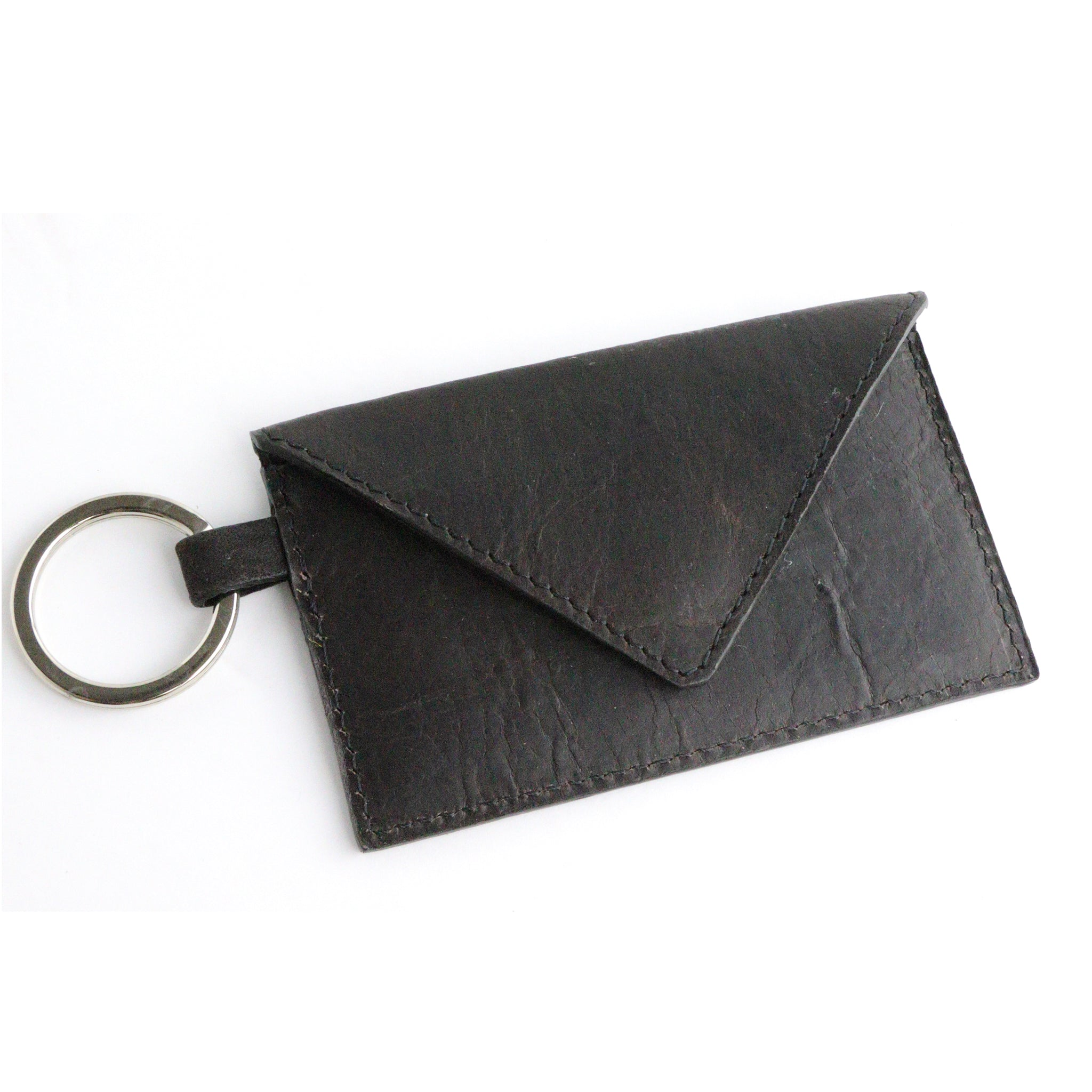 Bison Espresso Leather Keychain Card Envelope Wallet