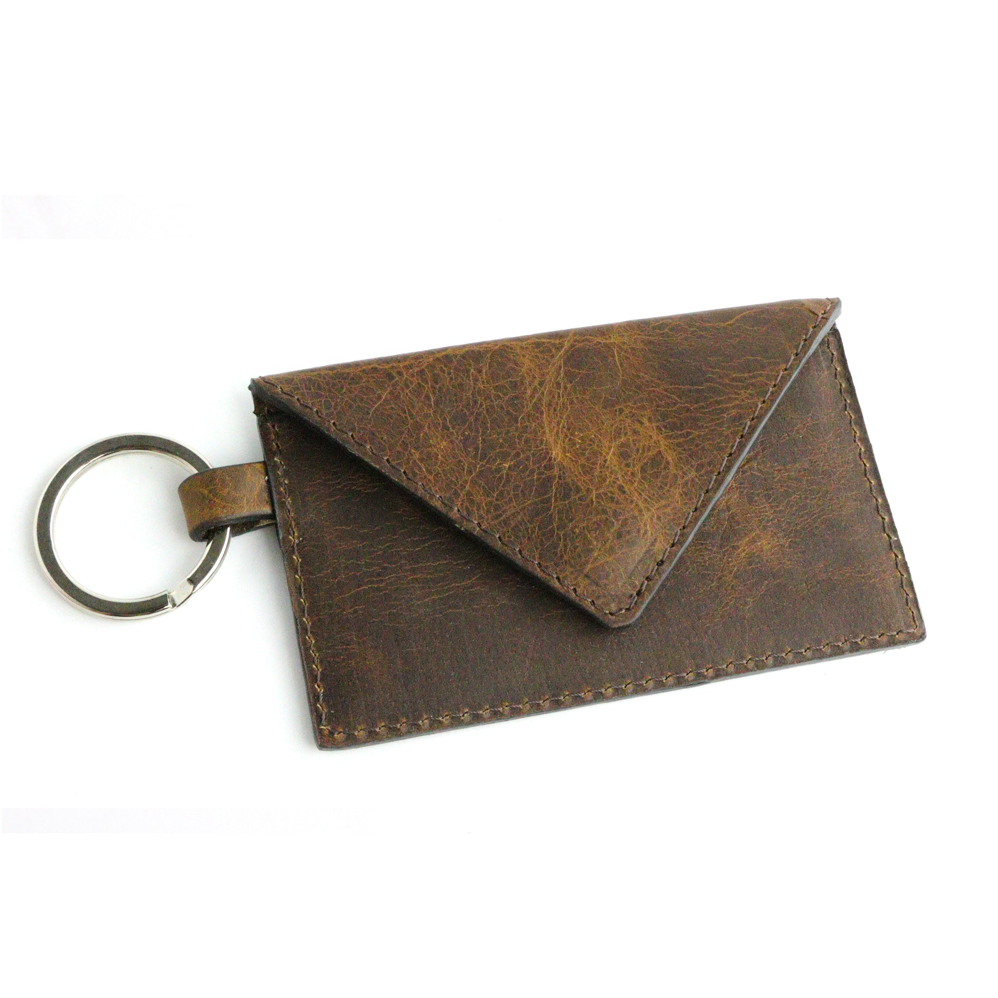 Bison Tobacco Leather Keychain Card Envelope Wallet