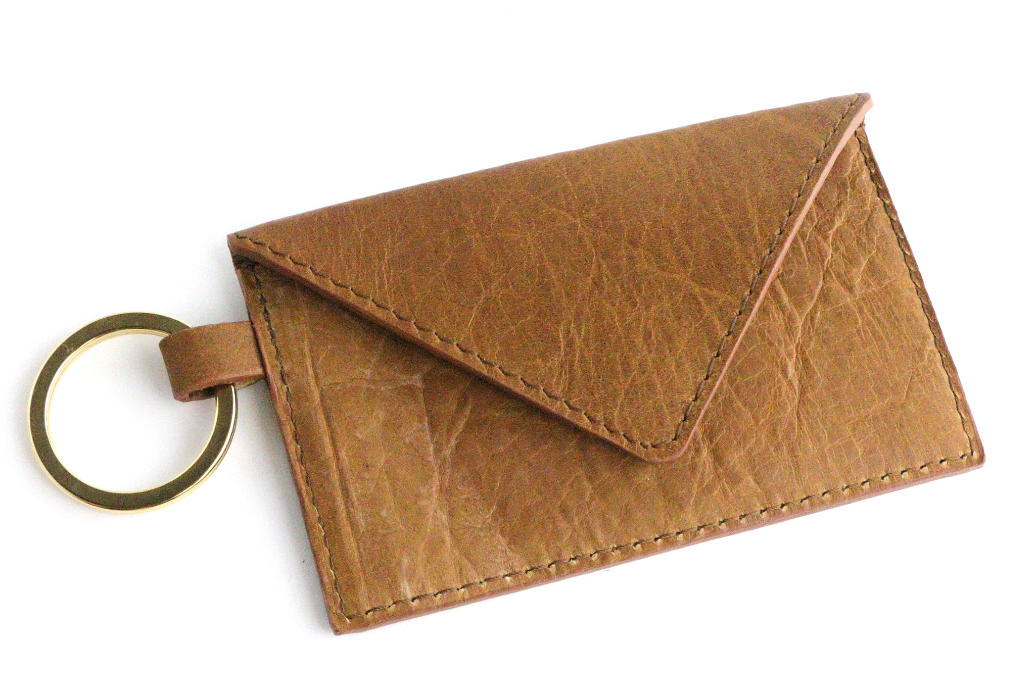 Bison Whiskey Leather Keychain Card Envelope Wallet
