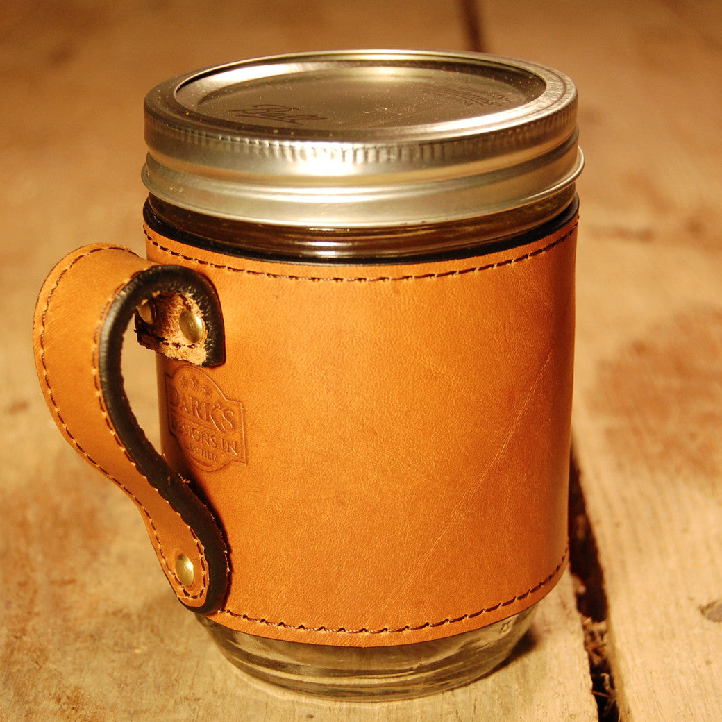 Dark's Leather Jar Drink Wrap in Bridle Leather Chestnut, Back