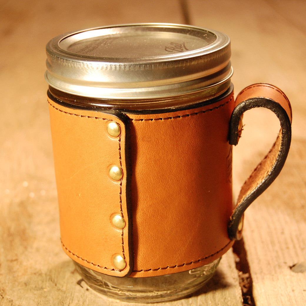 Dark's Leather Jar Drink Wrap in Bridle Leather Chestnut