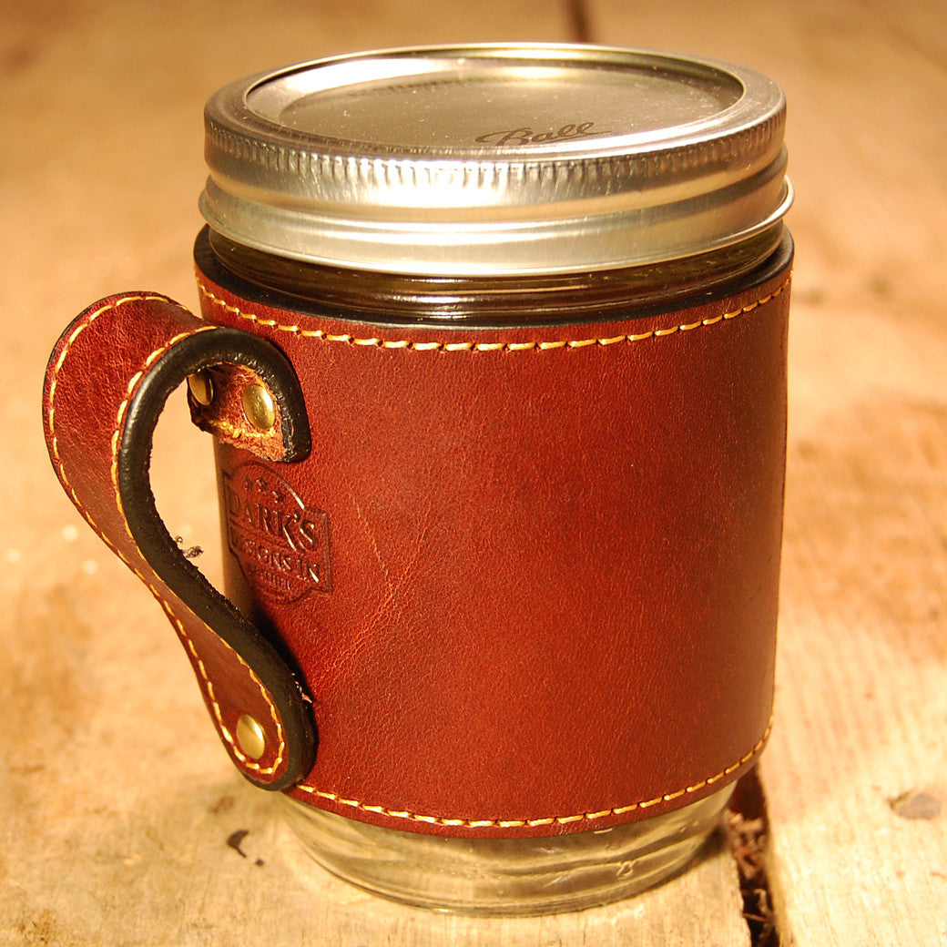 Dark's Leather Jar Drink Wrap in Bridle Leather Mahogany